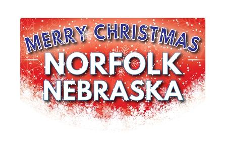 nebraska: NORFOLK NEBRASKA  Merry Christmas greeting card Stock Photo