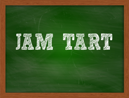 green chalkboard: JAM TART handwritten chalk text on green chalkboard Stock Photo