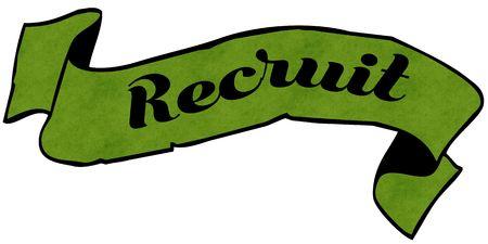 recruit: RECRUIT green ribbon. Illustration graphic concept image