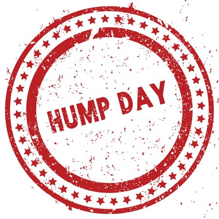 Red HUMP DAY distressed rubber stamp with grunge texture. Illustration Stock Photo