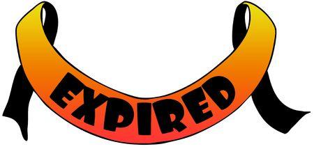 expired: Orange ribbon with EXPIRED text. Illustration concept image Stock Photo