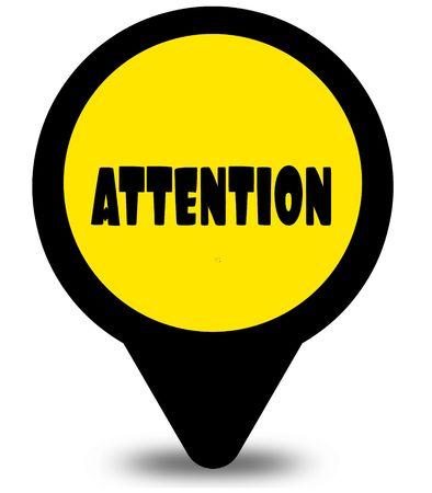 ATTENTION 텍스트 메시지가있는 노란색 위치 포인터 디자인 스톡 콘텐츠