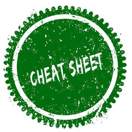 rubber sheet: CHEAT SHEET round grunge green stamp