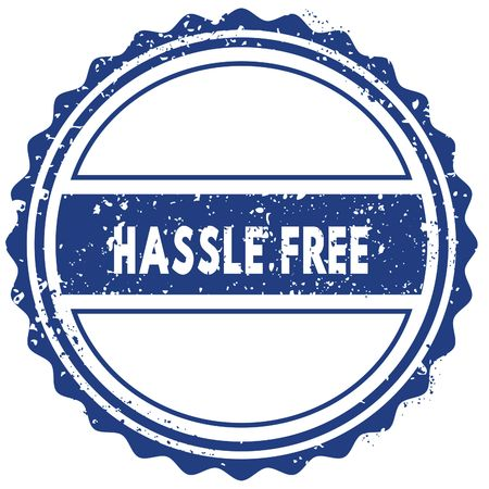 HASSLE FREE stamp. sticker. seal. blue round grunge vintage ribbon sign. illustration Reklamní fotografie