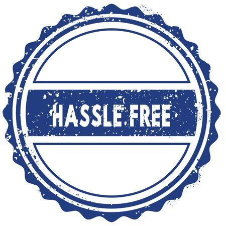 HASSLE FREE stamp. sticker. seal. blue round grunge vintage ribbon sign. illustration Stock Photo