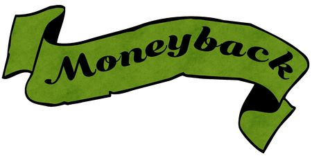 MONEYBACK green ribbon. Фото со стока