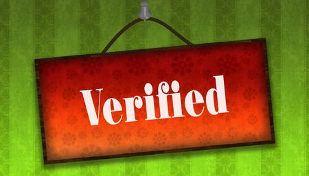 VERIFIED text on hanging orange board. Green striped wallpaper background.