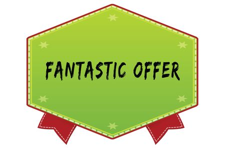FANTASTIC OFFER on green badge with red ribbons