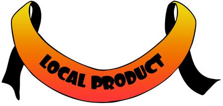 Orange ribbon withLOCAL PRODUCT text.