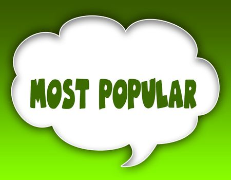 MOST POPULAR message on speech cloud graphic. Green background.