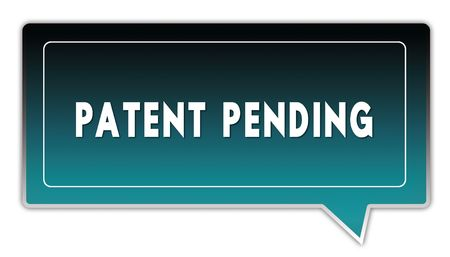PATENT PENDING on turquoise to black gradient square speech bubble. Stock Photo