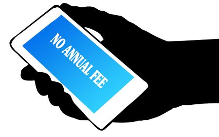 Hand silhouette holding phone with NO ANNUAL FEE text.