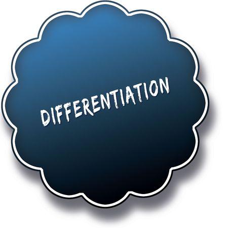 differentiation: DIFFERENTIATION text written on blue round label badge.