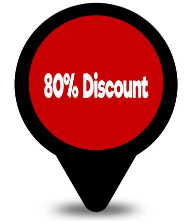 80 PERCENT DISCOUNT on red location pointer illustration