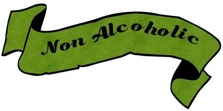 non alcoholic: NON ALCOHOLIC green ribbon.