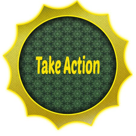 Golden badge with TAKE ACTION text.