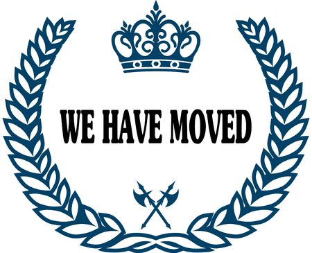 we have moved: Blue laurels seal with WE HAVE MOVED text. Stock Photo