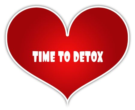 TIME TO DETOX on red heart sticker label.