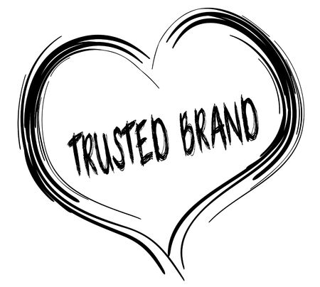 trusted: Sketched black heart with TRUSTED BRAND text.