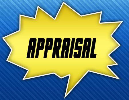 Bright yellow speech bubble with APPRAISAL message. Blue striped background Illustration. Stock Photo