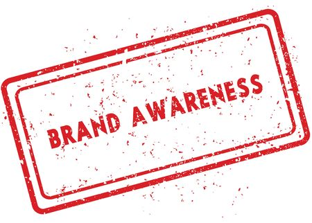 Red BRAND AWARENESS rubber stamp. Illustration graphic image concept