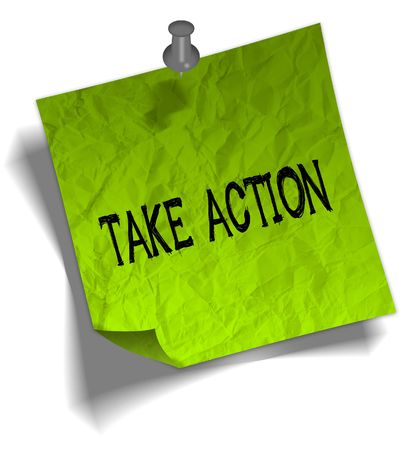 Green note paper with TAKE ACTION message and push pin graphic illustration. Stock Photo
