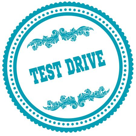 테스트 드라이브 블루 라운드 스탬프입니다. 일러스트 이미지 컨셉 스톡 콘텐츠