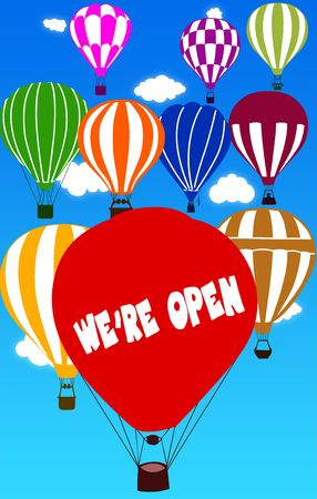 WE ARE OPEN written on hot air balloon with a blue sky background. Illustration