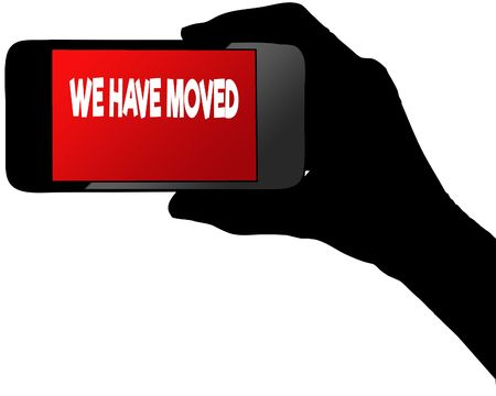 WE HAVE MOVED on red smartphone screen. Illustration graphic concept image