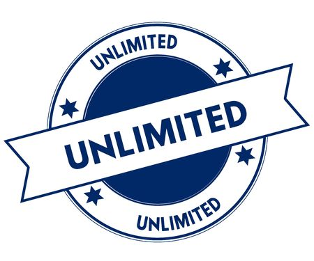 Blue UNLIMITED stamp. Illustration graphic concept image Stock Photo