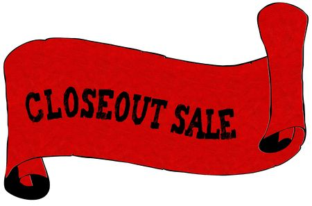 Red scroll paper with CLOSEOUT SALE text. Illustration concept