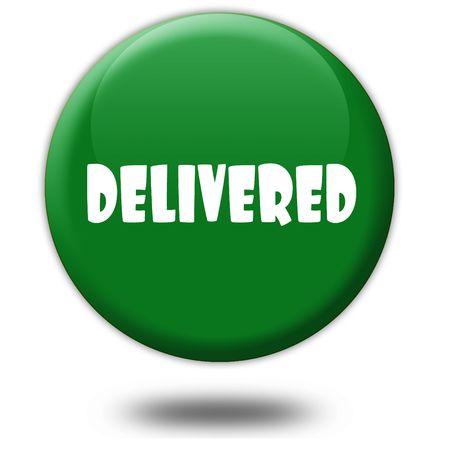 delivered: DELIVERED on green 3d button. Illustration graphic design concept image Stock Photo