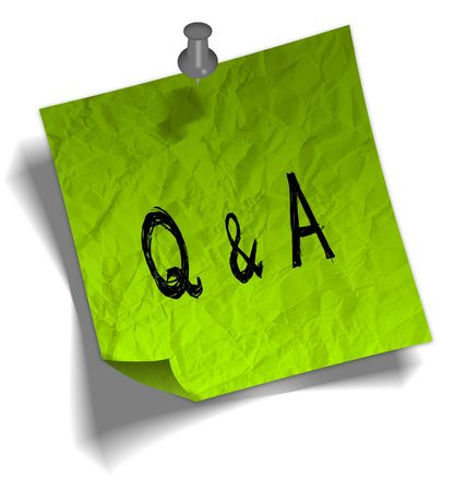Green note paper with Q A QUESTIONS AND ANSWERS message and push pin graphic illustration. Stock Photo