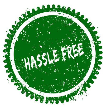 HASSLE FREE round grunge green stamp. Illustration concept Stock Photo