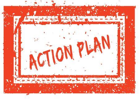 ACTION PLAN on orange square frame rubber stamp with grunge texture. Illustration