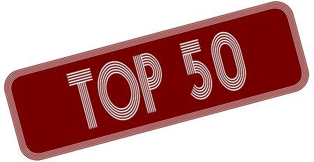 TOP 50 on red label. Illustration graphic concept image