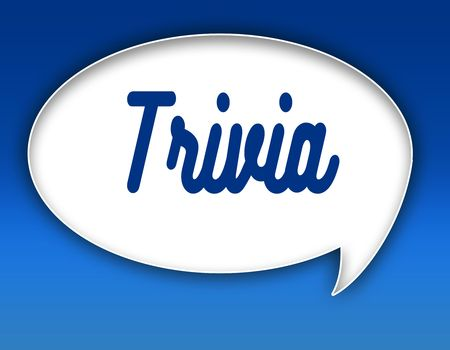 TRIVIA text on dialogue balloon illustration graphic. Blue background. Stock Photo