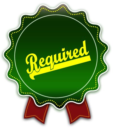 REQUIRED round green ribbon. Illustration graphic design concept image