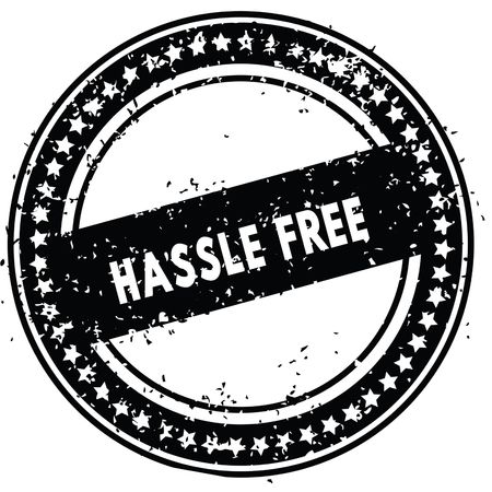 Black HASSLE FREE distressed rubber stamp with grunge texture. Illustration Stock Photo