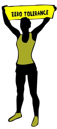 Sporty woman silhouette holding a yellow banner sign with ZERO TOLERANCE text. Illustration