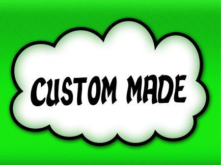 Comic style cloud with CUSTOM MADE writing on bright green background. Illustration 版權商用圖片