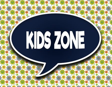 Dark blue word balloon with KIDS ZONE text message. Flowers wallpaper background. Illustration Stock Photo