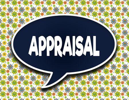 Dark blue word balloon with APPRAISAL text message. Flowers wallpaper background. Illustration Stock Illustration - 89336223