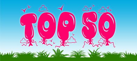 TOP 50 written with pink balloons on blue sky and green grass background. Illustration Stock Photo