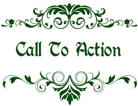アクションテキストを呼び出す緑のフレーム。イラスト画像コンセプト 写真素材