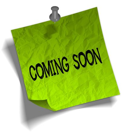Green note paper with COMING SOON message and push pin graphic illustration. Stock Photo