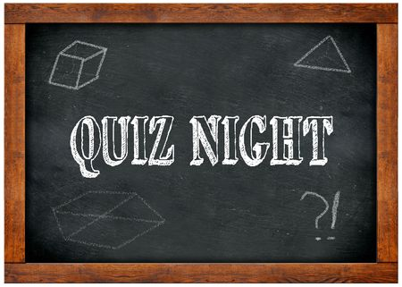 Wood frame blackboard with QUIZ NIGHT text written with chalk. Illustration