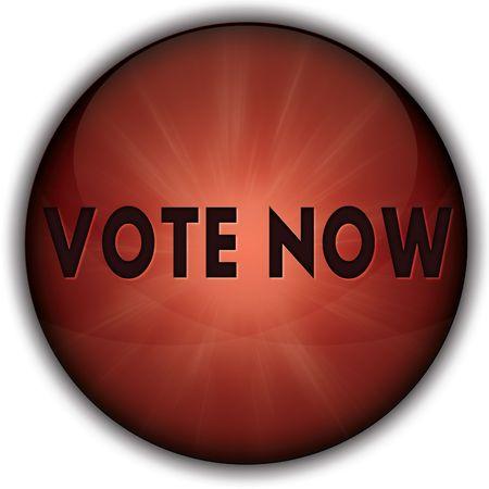 今すぐ投票赤いボタンのバッジ。イラスト画像コンセプト