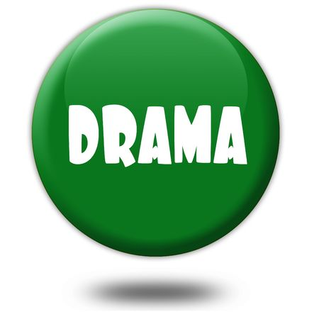 DRAMA on green 3d button. Illustration graphic design concept image