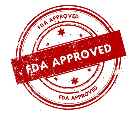 FDA APPROVED distressed red stamp. Illustration graphic concept